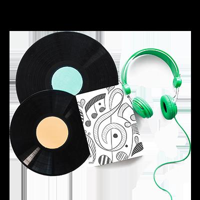 vinyls and green headphones