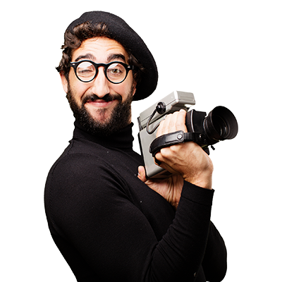man with the retro video camera
