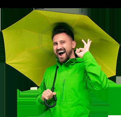 a man with an open umbrella